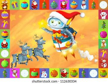The happy christmas scene - with frame - christmas robots - robotics - electronics - robot reindeer - illustration for the children