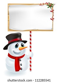 Happy Christmas snowman holding a Christmas sign and smiling