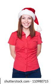 happy christmas woman in santa hat. studio shot over white background
