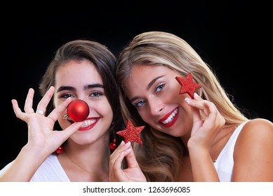 happy christmas women with Christmas decorations