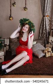 Happy Christmas.Young,beautiful girl .