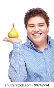 Happy chubby man holding pear, isolated on white