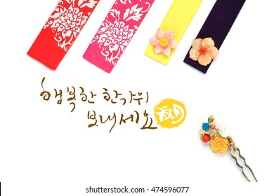 'Happy Chuseok & Hangawi, Translation of Korean Text : Happy Korean Thanksgiving Day' calligraphy and Korean traditional ornaments for women, isolated on white background.