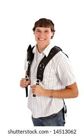 Happy College Student with Backpack Isolated on White Background