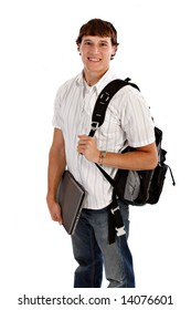 Happy College Student Isolated on White
