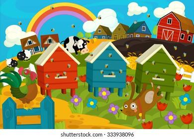 Happy and colorful farm scene - illustration for the children