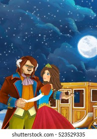 Happy and colorful traditional scene of royal married couple near the carriage - illustration for children