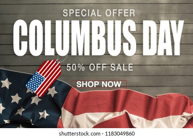 Happy Columbus day banner, american patriotic background