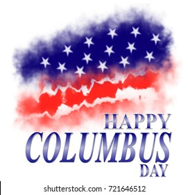 Happy Columbus Day Template background with USA flag