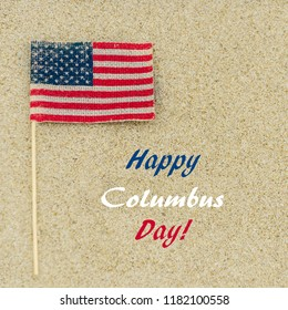 Happy Columbus Day (USA) background on the sandy beach