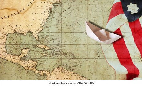 Happy Columbus Day. Usa Flag Nautical Chart and Paper Boat.