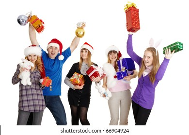 The happy company with New Year's gifts in hands isolated on a white background