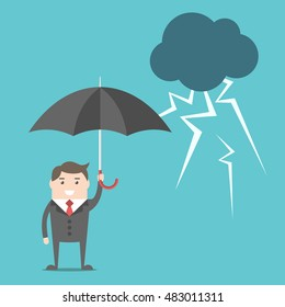 Happy confident businessman with umbrella standing safely under thundercloud with lightnings. Financial crisis, insurance and investment crisis