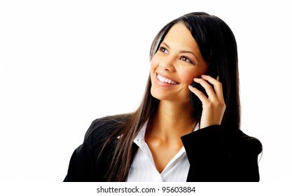happy confident businesswoman talking on the mobile cell phone isolated on white