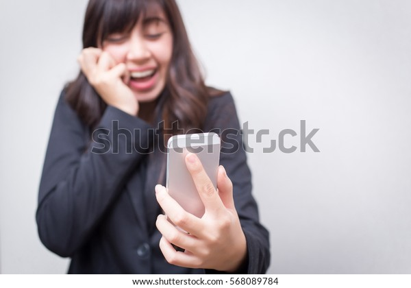 happy confident businesswoman talking on the mobile cell phone. concept for business