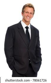 Happy confident caucasian professional in black suit