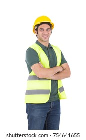 Happy confident engineer wearing vest and yellow helmet, isolated on white background.
