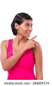 happy, confident woman pointing up
