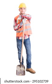 Happy constructions worker resting on the shovel full body on white background