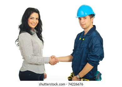 Happy constructor worker man and client woman giving handshake isolated on white background