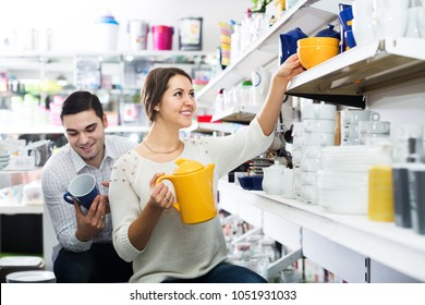 Happy couple buying ceramic tableware in shop cookware