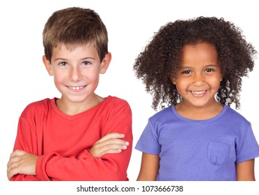 Happy couple of children isolated on a white background