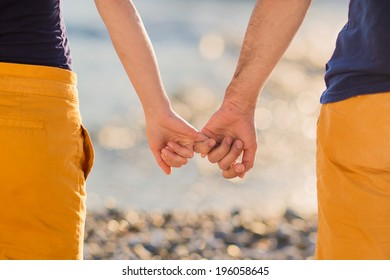 Happy couple holding hands in the sunset