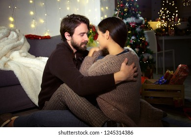 Happy couple in love for Christmas