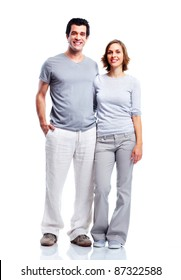Happy couple in love. Isolated over white background.