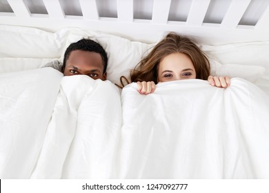 happy couple in love on a winter morning in bed
