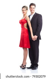 Happy couple in love. Over white background