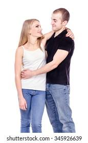Happy couple in love. Studio photo on white background