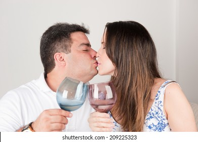 Happy Couple in love, toasting .