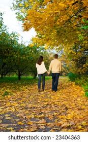 Happy couple on the autumn park