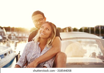 Happy Couple On a Boat, Enjoying Life while In Love