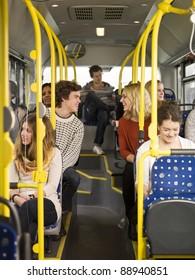 Happy couple on the bus