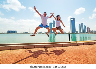 Happy couple on holidays in Abu Dhabi, UAE