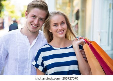 Happy couple on shopping