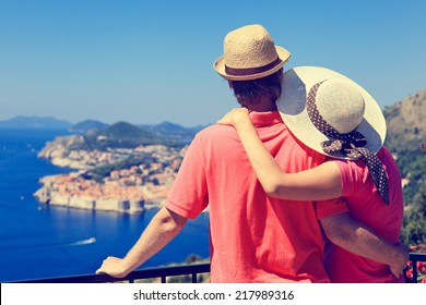 happy couple on summer vacation in Europe
