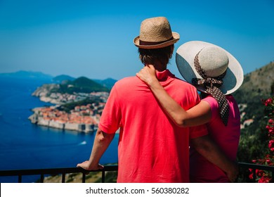 happy couple on vacation in Europe, Croatia
