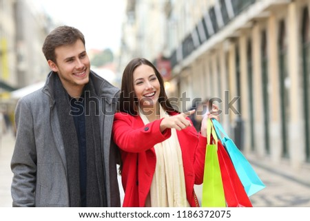 e925778a80 Happy Couple Shopping Pointing Stores Walking Stock Photo (Edit Now ...
