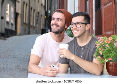Happy couple smiling during a romantic date