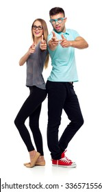 Happy couple smiling holding thumb up gesture, beautiful young man and woman smile looking at camera on white