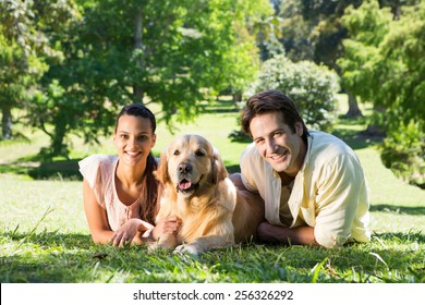 Happy couple with their dog in the park on a sunny day