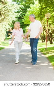 Happy couple walking at the park