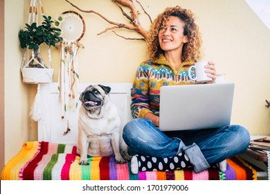 Happy couple woman and funny dog at home sitting on a coloured cover have fun and use technology laptop computer - lockdown and home office smart work job lifestyle