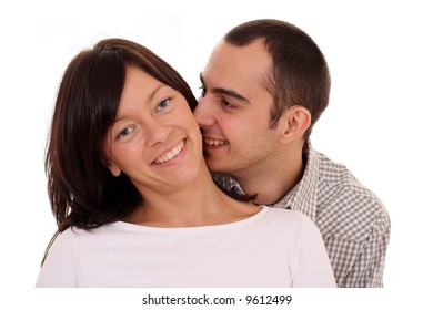 happy couple - woman and man 25-30 years old isolated on white
