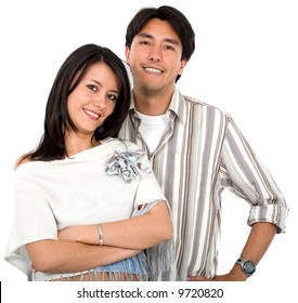 happy couple of young adults portrait smiling isolated over a white background