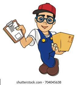 happy courier in glasses hold a blank and beige box