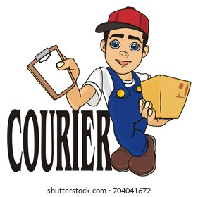 happy courier stand with his name of profession